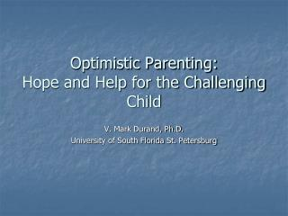 Optimistic Parenting: Hope and Help for the Challenging Child