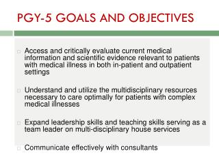 PGY-5 GOALS AND OBJECTIVES
