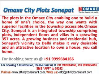 Omaxe City Residential Plots NH-1 Sonepat @ 09999684166