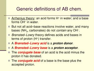 Generic definitions of AB chem.