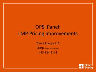OPSI Panel: LMP Pricing Improvements