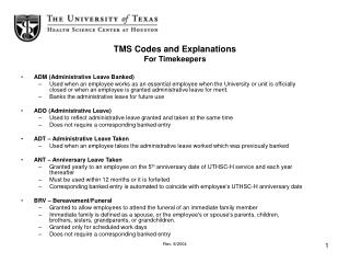 TMS Codes and Explanations For Timekeepers