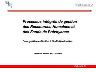 Processus intégrés de gestion des Ressources Humaines et des Fonds de Prévoyance