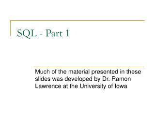 SQL - Part 1