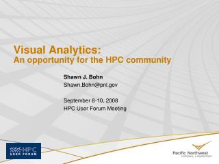 Visual Analytics: An opportunity for the HPC community