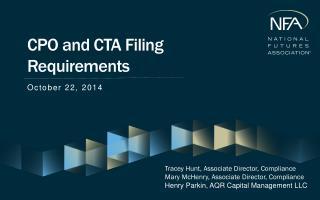 CPO and CTA Filing Requirements
