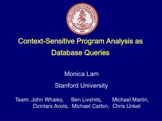 Context-Sensitive Program Analysis as Database Queries
