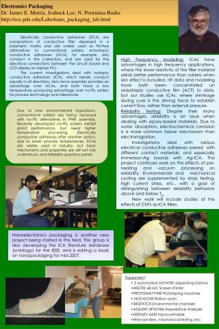 Electronics Packaging Dr. James E. Morris, Jeahuck Lee, N. Poornima Rudra