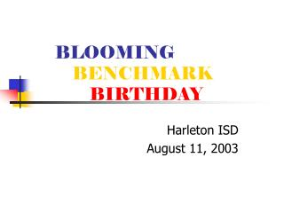 BLOOMING BENCHMARK BIRTHDAY