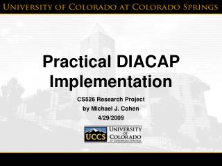 Practical DIACAP Implementation