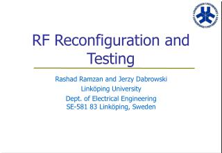 RF Reconfiguration and Testing