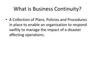 What is Business Continuity?
