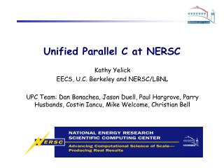Unified Parallel C at NERSC