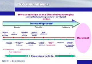 IPR-suunnitelma osana liiketoimintastrategiaa patenttijulkaisuihin perustuvat selvitykset  suojaus