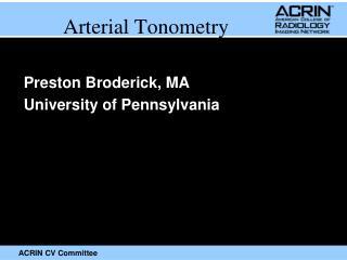Arterial Tonometry