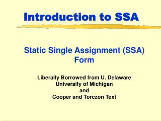 Introduction to SSA
