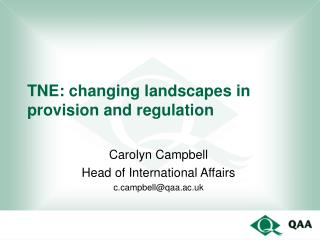 TNE: changing landscapes in  provision and regulation