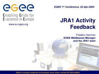 JRA1 Activity Feedback Fr�d�ric Hemmer EGEE Middleware Manager and the JRA1 team