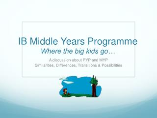 IB Middle Years  Programme Where the big kids go…