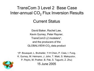 TransCom 3 Level 2  Base Case Inter-annual CO 2  Flux Inversion Results