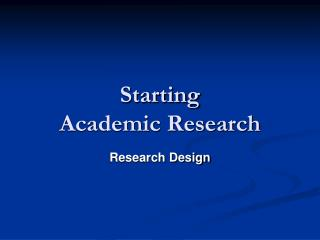 Starting  Academic Research