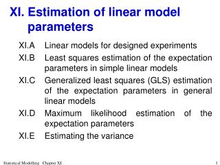 XI.	Estimation of linear model parameters