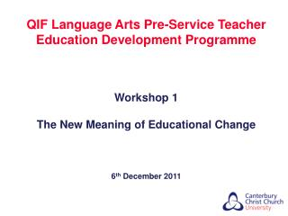 QIF Language Arts Pre-Service Teacher Education Development Programme