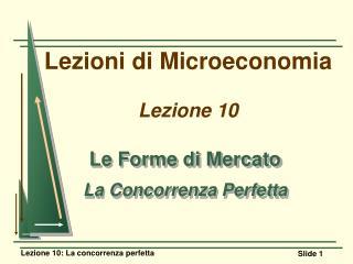 Lezioni di Microeconomia Lezione 10