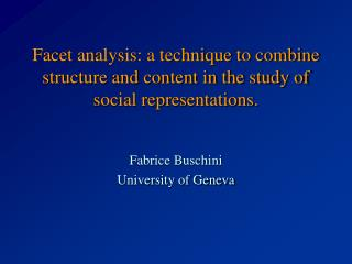 Fabrice Buschini University of Geneva
