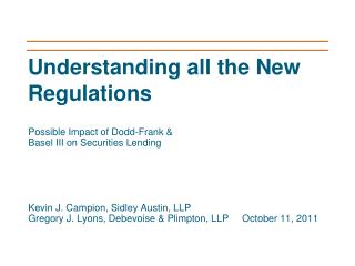 Understanding all the New Regulations