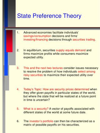 State Preference Theory