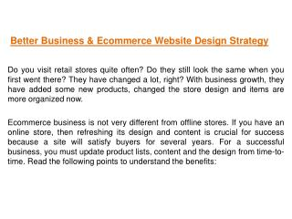 Better Business & Ecommerce Website Design Strategy