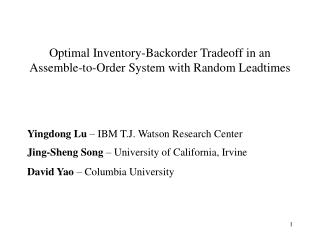 Optimal Inventory-Backorder Tradeoff in an Assemble-to-Order System with Random Leadtimes