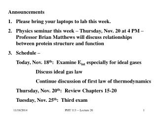 Announcements Please bring your laptops to lab this week.