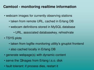 Camtool - monitoring realtime information