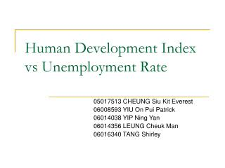 Human Development Index vs Unemployment Rate