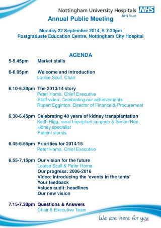 Annual Public Meeting Monday 22 September 2014, 5-7.30pm