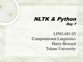 NLTK  Python Day 7