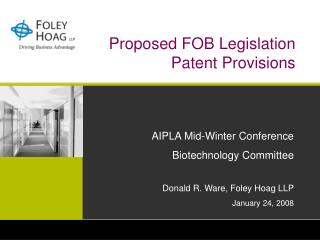 Proposed FOB Legislation Patent Provisions