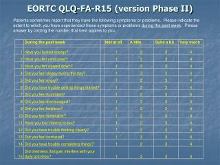 EORTC QLQ-FA-R15 (version Phase II)