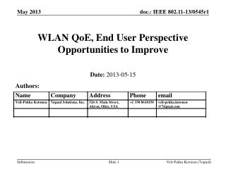 WLAN QoE, End User Perspective Opportunities to Improve