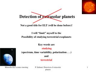 Detection of extrasolar planets
