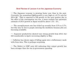 Brief Review of Lecture 4 on the Japanese Economy