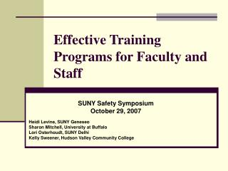 Effective Training Programs for Faculty and Staff
