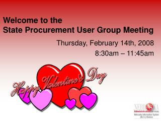 Welcome to the State Procurement User Group Meeting