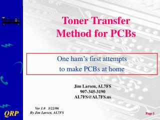 Toner Transfer Method for PCBs