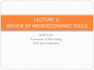 LECTURE 2: REVIEW OF MICROECONOMIC TOOLS