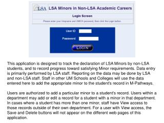 LSA Minors in non-LSA Academic Careers URL: