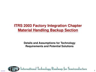 ITRS 2003 Factory Integration Chapter Material Handling Backup Section