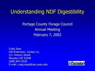 Understanding NDF Digestibility